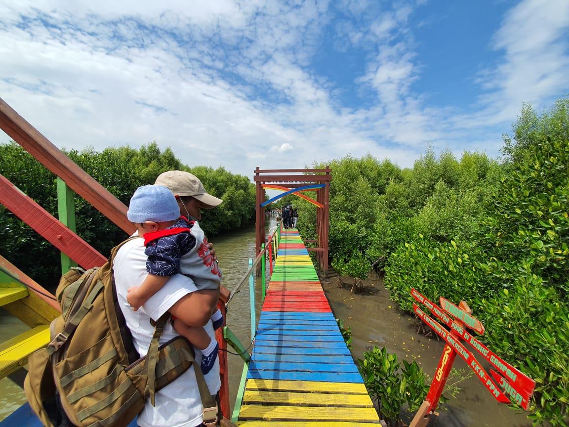 Tracking mangrove di Lantebung, Makassar, Sulsel, sebagai salah satu program yang didanai oleh KKP, dalam rangka pengelolaan mangrove berbasis wisata. Foto: Wahyu Chandra/Mongabay-Indonesia.